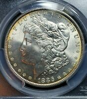 1886 MORGAN DOLLAR PCGS MINT STATE 65 CAC WITH GORGEOUS COLOR, BETTER DATE, GOLDEN RIM