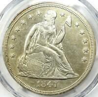 1847 SEATED LIBERTY SILVER DOLLAR $1 - CERTIFIED PCGS EXTRA FINE  DETAIL EF -  COIN