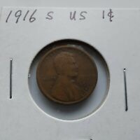 1916-S LINCOLN WHEAT ONE CENT BRONZE PENNY. SAN FRANCISCO MINT