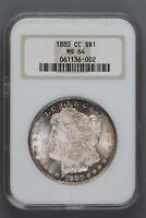 1880 CC MORGAN SILVER DOLLAR NGC MINT STATE 64 DOUBLEJCOINS 6002-63