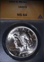 1923 PEACE SILVER DOLLAR. ANACS MINT STATE 64.THE MOST PRISTINE FROM A US TREASURY ROLL