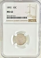 1892 10C BARBER DIME NGC MINT STATE 62