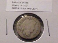 1916P 10C SILVER BARBER DIME AG 3982