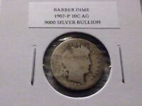 1907P 10C SILVER BARBER DIME AG 5962