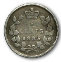 NICE 1885 CANADA  FIVE VICTORIA SILVER COIN 5 CENTS .925 SLIGHTLY BENT