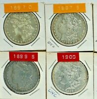 MORGAN DOLLARS, CHOSE 4 FROM 10 DIFFERENT DATE/MINT MARK:1900-S, 1897-1901