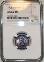 NGC MS 65 BN 1909 INDIAN HEAD CENT ATTRACTIVELY TONED & RAZO