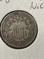 1868 5C SHIELD NICKEL FINE DARK