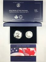 2019 PRIDE OF TWO NATION COIN SET - ENHANCED REVERSE PROOF ASE & MODIFIED PF SML