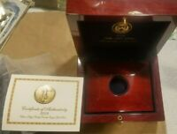 2009 ULTRA HIGH RELIEF DOUBLE EAGLE MAHOGANY WOOD BOX WITH UHR BOOK COA NO COIN