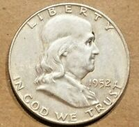 1952 P FRANKLIN HALF DOLLAR SILVER COIN 50 CENTS 1/2 $1 ABOUT UNCIRCULATED AU
