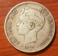 1897 SPAIN 5 PESETAS SILVER COIN SPANISH KING ALFONSO XIII CROWN SIZE