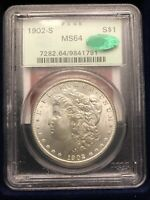 1902-S $1 MORGAN SILVER DOLLAR - PCGS MINT STATE 64 CAC  GREEN LABEL HIGH-GRADE KEY DATE