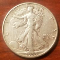 1944 WALKING LIBERTY HALF DOLLAR SILVER COIN 50 CENTS WALKER 50C WWII RELIC AU