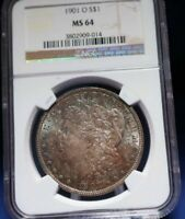 MORGAN SILVER TONED COIN 1901 NGC MINT STATE 64 SHIPS FREE FROM JP W/TRACKING 8894N