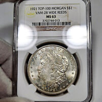 1921 P MINT STATE 63 MORGAN SILVER DOLLAR $1, NGC GRADED, VAM-28 WIDE REEDS TOP100