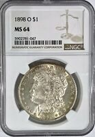 1898-O $1 MORGAN SILVER DOLLAR COIN NGC MINT STATE 64
