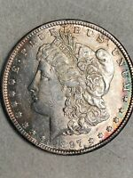 1897-S MORGAN SILVER DOLLAR CHOICE AU LIGHT RIM TONING