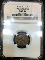1922 NO D LINCOLN WHEAT CENT PENNY NGC VG8 WEAK REVERSE RARE