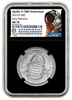 2019-D APOLLO 11 50TH ANNIV. HALF DOLLAR NGC ER ASF LABEL MS 70 FINEST KNOWN