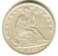 1855 O SEATED LIBERTY HALF DOLLAR MS   SILVER TYPE COIN WITH