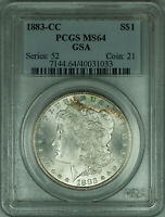 1883-CC GSA MORGAN SILVER DOLLAR $1 COIN PCGS MINT STATE 64 TONED