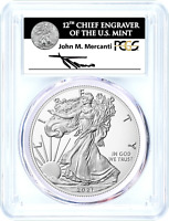2021 TYPE 1 HERALDIC SILVER EAGLE-PCGS MS70-MERCANTI SIGNED-FIRST DAY OF ISSUE