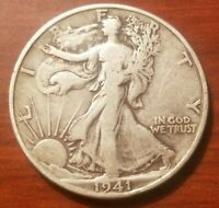 1941 D WALKING LIBERTY HALF DOLLAR SILVER COIN 50 CENTS WORLD WAR TWO WWII RELIC