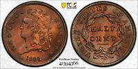 ALMOST ALL RED 1835 HALF CENT  PCGS  AU DETAILS