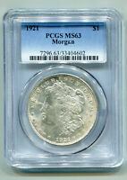 1921 MORGAN SILVER DOLLAR PCGS MINT STATE 63  ORIGINAL COIN FROM BOBS COINS FAST SHIP