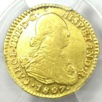 1807 NR JJ COLOMBIA CHARLES IV ESCUDO GOLD COIN 1E   CERTIFIED PCGS AU DETAILS
