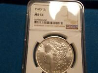 1900-P MORGAN DOLLAR NGC MINT STATE 64 BLAST WHITE