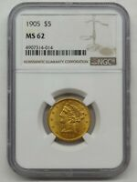 1905 GOLD LIBERTY HALF EAGLE NGC MINT STATE 62 $5 DOLLAR U.S. GOLD COIN