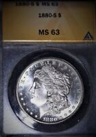 1880-S MORGAN SILVER DOLLAR, ANACS MINT STATE 63 , WAY PRETTY , ISSUE FREE