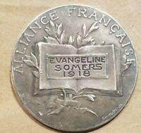 ALLIANCE FRANCAISE EVANGELINE SOMERS 1918 SILVER FRENCH WORLD WAR ONE WWI MEDAL