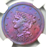 1849 BRAIDED HAIR HALF CENT 1/2C COIN - NGC UNCIRCULATED DETAIL UNC MS CLEANED