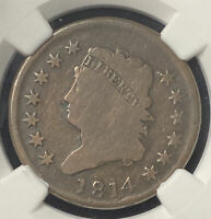 1814 CLASSIC HEAD LARGE CENTPLAIN 4S-29NGC G DETAILSEARLY COPPER TYPE COIN