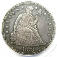 1872 SEATED LIBERTY SILVER DOLLAR $1 - ANACS AU55 DETAILS -  EARLY COIN