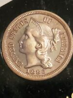 1883 THREE 3 CENT  NICKEL COIN  UNC