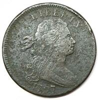 1797 DRAPED BUST LARGE CENT 1C S-130 - VF DETAILS -  DATE COIN