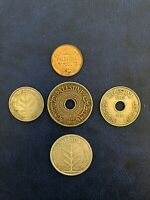 LOT COINS PALESTINE 1 10 20 50 & 100 MILS 1940  SILVER  FULL
