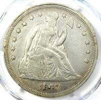 1845 SEATED LIBERTY SILVER DOLLAR $1 COIN - CERTIFIED PCGS EXTRA FINE  DETAIL -  DATE