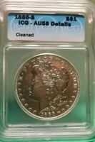 1886 S US MORGAN SILVER $1  AU CLEANED