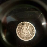 1853 HALF DIME WITH ARROWS. HOLED AND SCRATCHES. RK-78