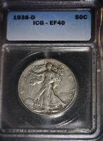 1938-D WALKING LIBERTY HALF DOLLAR, ICG EF40, SEMI KEY, ISSUE FREE.