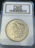 1902 O MINT STATE 64 MORGAN SILVER DOLLAR - 1902-O MINT STATE 64 GRADED IN OLD NGC HOLDER