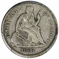 1863-S 10C SEATED LIBERTY DIME PCGS VF35 CAC