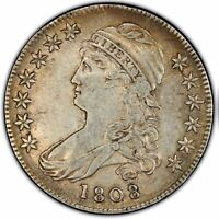 1808/7 50C CAPPED BUST HALF DOLLAR PCGS EXTRA FINE 45 CAC