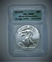 2015-P SILVER AMERICAN EAGLE ICG MINT STATE 69 STRUCK AT PHILLY 1 OF 444 RANDOM 252 V2
