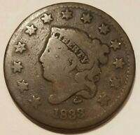 1833 MATRON HEAD CORONET LARGE CENT ONE PENNY COIN 1C NICE